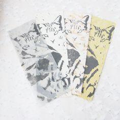 Marque page chat au choix, gravure originale sur papier japonais, cadeau mixte, gravure chat noir, marque page illustré, dessin chat