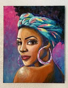 Girl Paintings, Painting Of Girl, Modern Art, Contemporary, African Girl, Boho Girl, Girl Face, Urban Art, Art For Sale