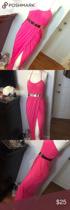 💘🎀Pretty Draped Maxi NWOT Sexy slit Maxi from hot Miami styles. Belt not included. No tags! Never been worn! Hot Miami Styles Dresses Maxi