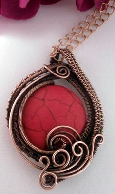 Wire Wrapped Pendant Necklace Red Howlite and Copper by PerfectlyTwisted Jewelry,
