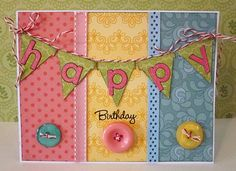 Sweet Happy Birthday Banner Card...with buttons, stitching & baker's twine.