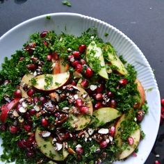 A Healthy Salad Made With Kale, Walnuts, and Pomegranate