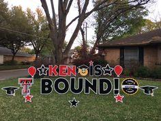 WRECK 'EM Graduation Fun!! KEN IS TEXAS TECH BOUND! Graduation Yard Signs, Graduation Party Decor, Grad Parties, Graduation Ideas, Going Away Parties, Texas Tech, Class Of 2020, Card Ideas, Angels