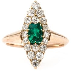 Pre-owned Striking Victorian Era Emerald Old Mine Cut Diamond Navette... ($4,500) ❤ liked on Polyvore featuring jewelry, rings, engagement rings, diamond engagement rings, cushion cut diamond ring, diamond jewelry, pre owned engagement rings and victorian ring