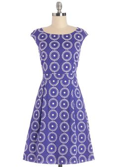 Rowing on a Picnic Dress. As the oars dip slowly into the gently moving stream, you marvel at the waters graceful ripples, which are reflected in the pattern on this cobalt-blue ModCloth-exclusive dress. #blue #modcloth