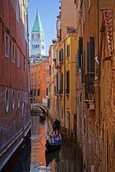 Campanile and canal, Venezia.
