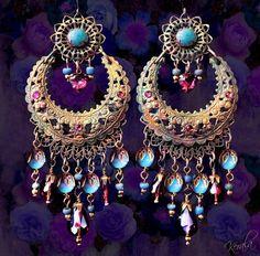 Large, Exotic Moroccan Moon Earrings, Turquoise Bohemian Gypsy Chandelier Earrings, Purple Crystal - MTO