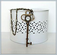 Skeleton key necklace, Personalized Key necklace, Bronze Key pendant, Key and initial necklaces, Bronze Key necklace personalized initial