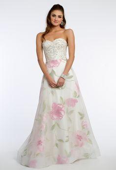 Beaded Lace Bodice Rose Print Dress