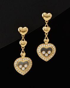 Chopard 'Happy Diamond' 18K 0.82 cttw. Diamond Heart Drop Earrings - $6,399