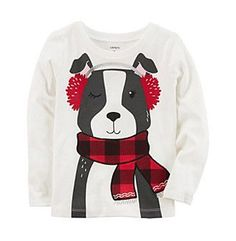 Carter's® Girls' 12 Months-8 Long Sleeve Dog With Scarf Top