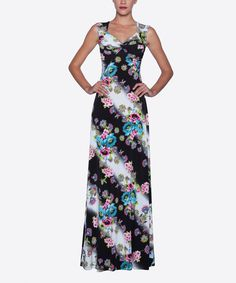 Another great find on #zulily! Black & Blue Floral Empire-Waist Maxi Dress by Elfe #zulilyfinds