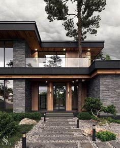 Modern Exterior House Designs, Modern House Facades, Modern Architecture House, Modern House Plans, Architecture Portfolio, Modern Houses, Modern Contemporary House, Modern Wooden House, Amazing Architecture