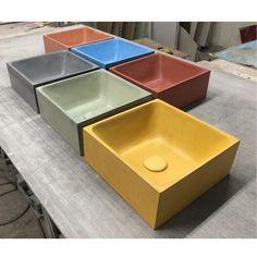 PLINT 30 - Colored sink, Top Washbasin, Concrete, Handmade basin, Hand Painted by Artisans Boho Bathroom, Bathroom Trends, Chic Bathrooms, Bathroom Styling, Modern Bathroom Sink, Washroom, Lavabo Corian, Concrete Sink, Sink Top