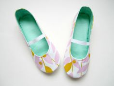 Women's Ballet Style Slippers in Pink Yellow and Aqua Pink Yellow, Aqua, Shoe Story, Ballet Style, Ballet Fashion, Fun Stuff, My Design, My Etsy Shop, Slippers