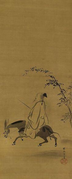 Chinese Literati Poet Su Shi. Kano Tanyu (1602–1674). Japanese hanging scroll painting.