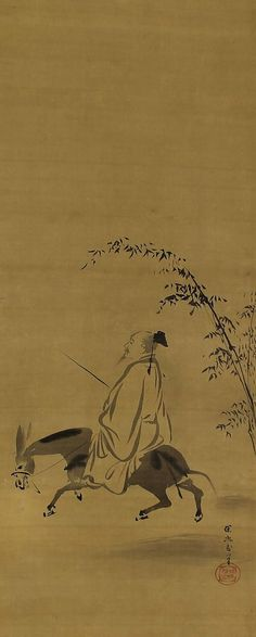 Chinese Literati Poet Su Shi. Kano Tanyu (1602–1674). Japanese hanging scroll painting.