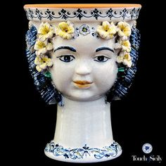 """Head of Cherub"" Planter - handmade, hand painted gorgeous blue Italian ceramic planter! The workmanship that goes into something like this is astonishing. Found in www.potterywithpassion.com"