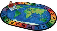 Around the World Oval Classroom Rug 6'9 x 9'5 - SensoryEdge