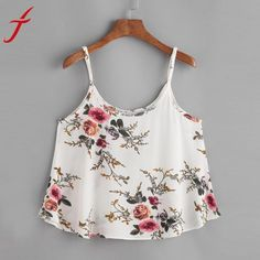 3b04aea01c 2017 Summer Floral Printing Camis Sexy Women Sleeveless Crop Top Vest Tank  Shirt Casual Blusa Cami