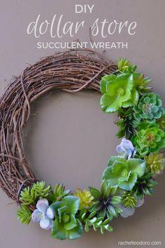 Dollar Store Succulent Wreath Tutorial