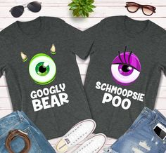 Googly Bear Schmoopsie Poo Shirts, this unisex Monsters Inc Matching Couples gift tee is everything you've dreamed of and more. It feels soft and lightweight, with the right amount of stretch. It's comfortable and flattering for both men and women. Disney Couple Outfits, Cute Couple Outfits, Cute Couple Shirts, Disney Couple Shirts, Matching Disney Shirts, Couple Tees, Disney World Shirts, Disney Couples, Disney Clothes
