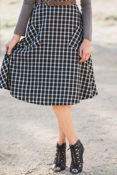 Midi skirts, mid length skirts, plaid, fall fashion, skirts with pockets, Morning Lavender