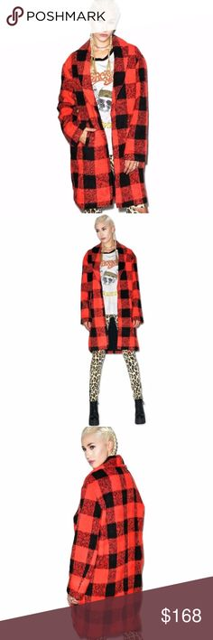 """NWT Evil Twin XS (RUNS LARGE) The Kennedy Coat NWT The Kennedy Coat by Evil Twin. From the Dollskill website, """"Evil Twin The Kennedy Coat is gonna keep people talkin' long after yew ain't around. This gorgeous wool coat is super comfy with it's relaxed fit, dual pockets and long sleeves. Featuring a pretty plaid print and statement exaggerated collar, yer sure to become more than a rumor."""" Jacket is approximately 39"""" long, armpit to armpit is 22. Size xs; would also fit a small/med…"""