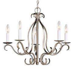 """View the Kichler 2033 Portsmouth Single-Tier Candle-Style Chandelier with 5 Lights - 72"""" Chain Included - 22 Inches Wide at LightingDirect.com."""