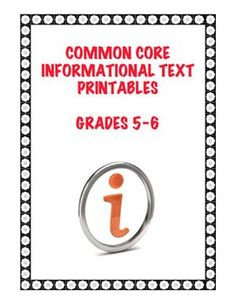 Specific and meaningful practice with EVERY CCS Informational Text Standard for Grades 5-6! This competency-based 60+ page collection of 15 different text printables includes three key types: historical, scientific, and technical and has varied questions/activities that align with 26 different CCS Standards for informational texts. $