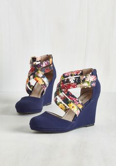 Boost Your Bliss Wedge in Navy. Your upbeat attitude will reach breakthrough levels as soon as you sneak your toes into these beige wedges! #blue #wedding #modcloth