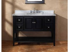 48 Inch Black Bathroom Vanity with White Carrara Marble Top