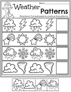 Looking for fun Weather Activities for Kids? This set is packed with hands-on learning fun for a Weather Theme. Includes an Interactive Weather Chart, and so much more. Weather Worksheets for Preschool - Weather Patterns Weather Activities Preschool, Preschool Printables, Preschool Science, Preschool Lessons, Preschool Worksheets, Preschool Learning, In Kindergarten, Science Classroom, Worksheets For Preschoolers