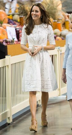 Kate Middleton in a lovely cream dress