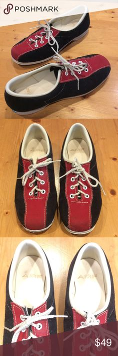 🎳AMF VINTAGE BOWLING SHOES🎳 These older suede bowling shoes are great,I only wish they fit me,as I bought them off Posh thinking their 8.5 would fit my usual 8.5, but they fit quite tight like an 8 maybe. They're in pretty nice condition for their age,and fairly clean too! AMF Shoes Athletic Shoes
