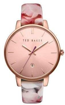 899c8faab Ted Baker Kate Round Floral Print Leather Strap Analog Watch