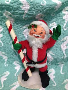 "Vintage Annalee Mobilitee Doll 14"" 1988 Santa Claus with North Pole $45"