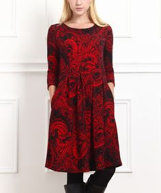 Look what I found on #zulily! Red & Black Paisley Three-Quarter Sleeve Dress #zulilyfinds