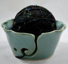 Aqua Ceramic Crochet or Knitting Bowl Stoneware Pottery