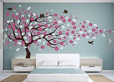 Vinyl Wall Decal Cherry Blossom Flower Tree Wall Decal Decals Child Wall Sticker Stickers Flowers - 45+ Beautiful Wall Decals Ideas  <3 <3