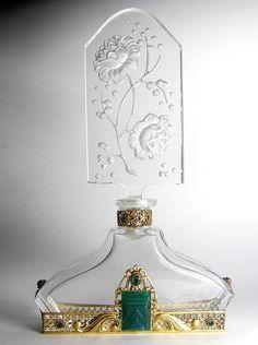 Tall Czech Jeweled Perfume Bottle