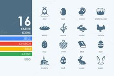 16 easter icons by Palau on Creative Market