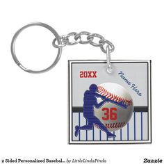 Cheap Baseball Team Gifts. Personalized Baseball Keychains with Your Text or Delete. CLICK: https://www.zazzle.com/z/3o0ls Cool baseball player on a baseball. Change the Red, Blue and Gray Text and Background to ANY COLORS. 3 Text Box Templates for YOUR TEXT or Delete it. More personalized baseball gifts for players and baseball party ideas HERE: http://www.zazzle.com/littlelindapinda/gifts?cg=196556138924326857&rf=238147997806552929 Baseball party favors or baseball birthday party ideas.