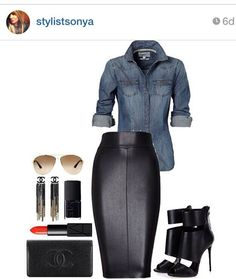 Outfit of the day - stretch faux leather skirt with denim shirt, rayban sunglasses, stilettos, and black and gold dangle earrings.