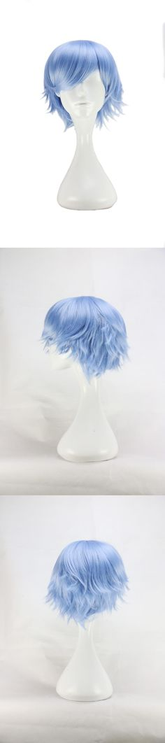 [Visit to Buy] QQXCAIW Men Male Short Japanese Costume Cosplay  Boys Light Blue 32 Cm Heat Resistant Synthetic Hair Wigs #Advertisement