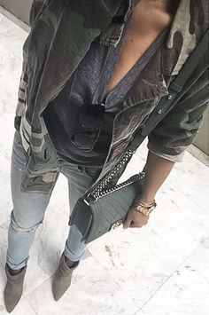 #fall #outfits · Army Jacket + Ankle Boots + Green Chanel Bag