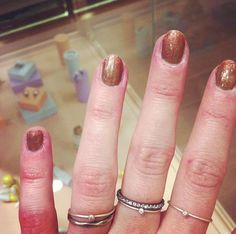 Christine from head office with her Ring Party rings in oxidized silver with zirconia and gold rings with diamonds