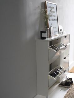 Hallway storage ideas - slim hallway cupboard - small space ideas - styling new build homes - simple storage solutions Porch Storage, Hallway Storage, Attic Storage, Cupboard Storage, Hallway Ideas Entrance Narrow, Narrow Hallway Decorating, Decorating Small Spaces, House Entrance, Small Space Storage