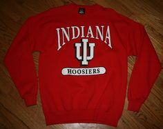 Vintage INDIANA IU HOOSIERS Sweatshirt Shirt-Mens L basketball/football/golf/NEW #IndianaUniversity