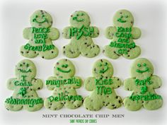 Sugar Swings! Serve Some: Mint Chocolate Chip Men Cookies for St Patty's Day!